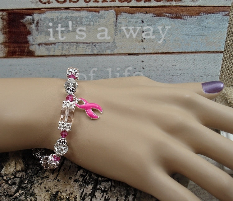 PI-1 Breast Cancer Awareness Jewelry Beaded Bracelet