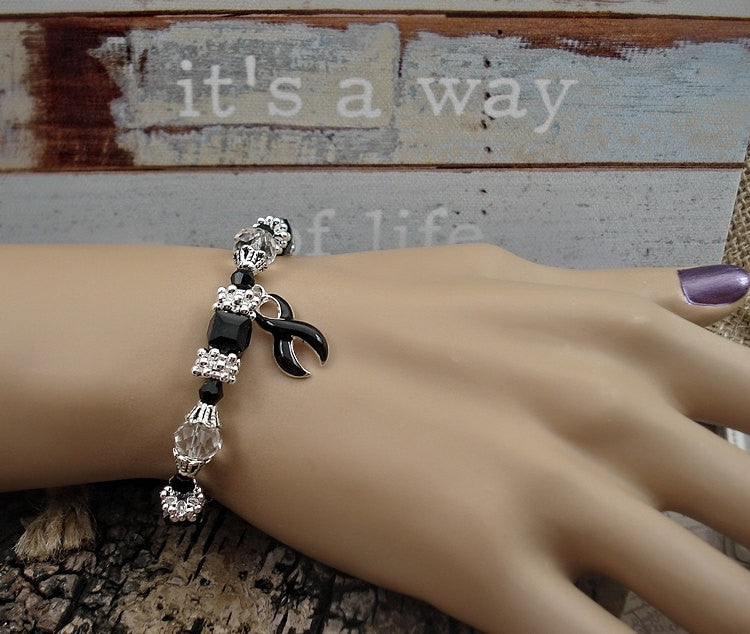 BL-1  Melanoma Bracelet Narcolepsy Awareness Jewelry Beaded Bracelet