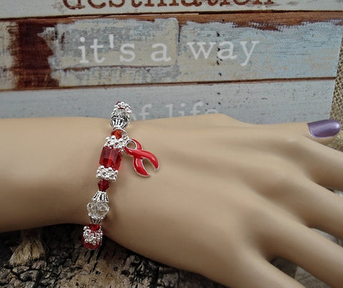 RE-1 Heart Disease Stroke Awareness Jewelry Beaded Bracelet