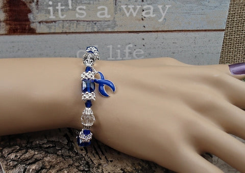 DB-1 Colon Cancer Alopecia Child Abuse Awareness Jewelry Beaded Bracelet