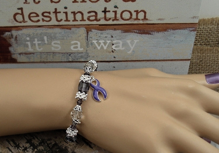 DP-1 Fibromyalgia Pancreatic Cancer Awareness Jewelry Beaded Bracelet