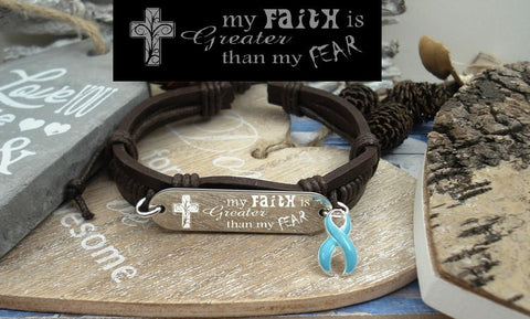 LB-1 Prostate Cancer Awareness Anoreixa Faith over Fear Leather Bracelet
