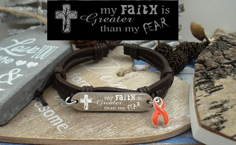 RO-1 Leukemia Multiple Sclerosis RSD Awareness Faith over Fear Leather Bracelet