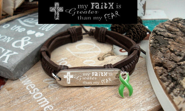 LG-1 Lung Transplant Muscular Dystrophy Faith over Fear Leather Bracelet