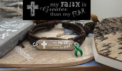 DG-1 Organ Donor Kidney Disease Awareness Faith over Fear Leather Bracelet