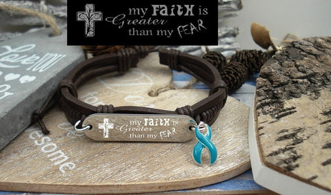 TE-1 Cervical Cancer Awareness Ovarian Cancer Faith over Fear Leather Bracelet