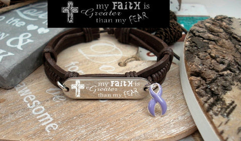 LP-1 Eating Disorder Stomach Esophageal Cancer Faith over Fear Leather Bracelet