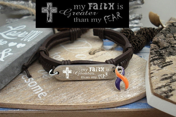 OP-4 CRPS Ramsay Hunt Awareness Arthristis Faith over Fear Leather Bracelet