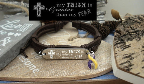 YP-4 Autoimmune Hepatitis Awareness Jewelry Faith over Fear Leather Bracelet