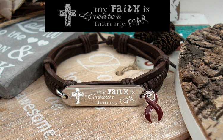 BU-1 Multiple Myeloma Brain Aneurysm Awareness Faith over Fear Leather Bracelet