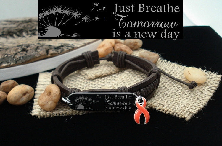 RO-1 MS Awareness Kidney Cancer Leukemia Just Breathe Leather Bracelet