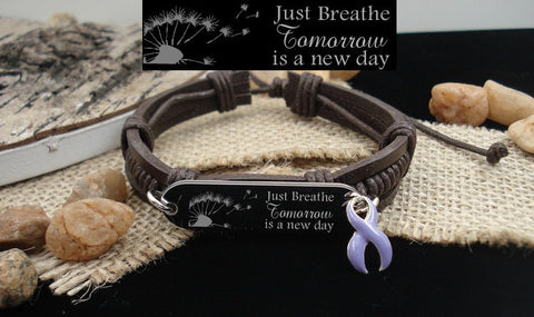 LP-1 Epilepsy Eating Disorder Awareness Stomach Cancer Just Breathe Leather Bracelet