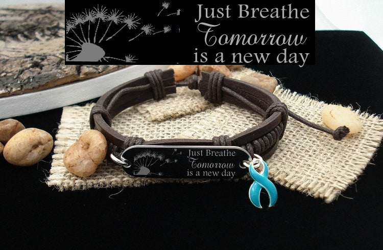 LB-1 Cervical Ovarian Cancer Tourettes PCOS Awareness Just Breathe Leather Bracelet