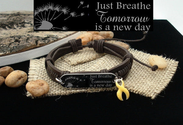 YE-1 Endometriosis Sarcoma Suicide Awareness Just Breathe Leather Bracelet