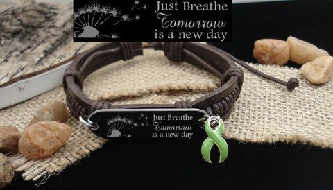 LG-1 Lymphoma Cancer Awareness Lyme Disease Lung Transplant Just Breathe Leather Bracelet