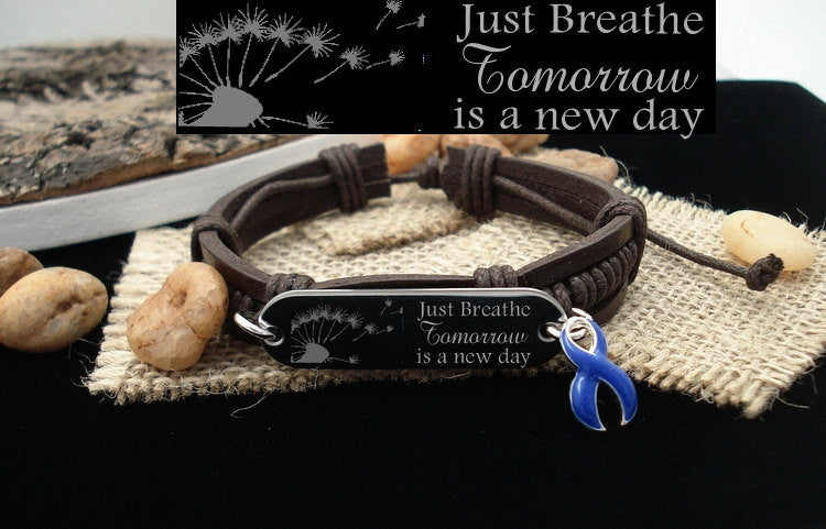 DB-1 Colon Cancer Awareness Alopecia Jewelry Just Breathe Leather Bracelet
