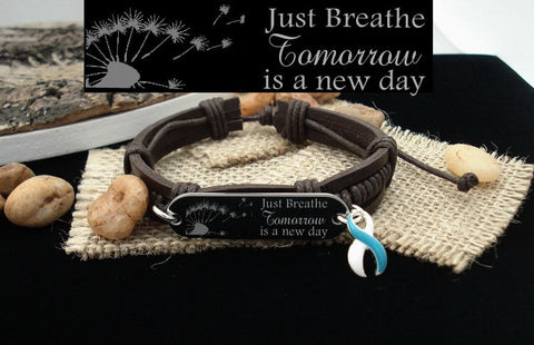 TW-4 Addiction Recovery Jewelry Cervical Cancer Survivor Just Breathe Leather Bracelet