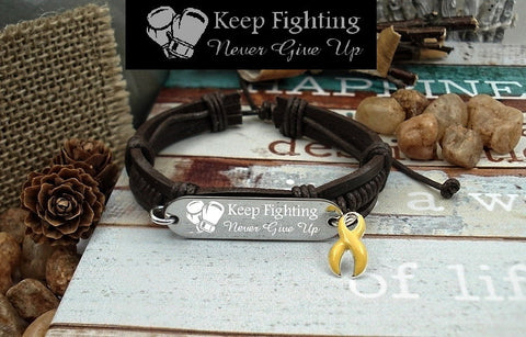 YE-1 Bladder Cancer Awareness Endometriosis Suicide Jewelry Keep Fighting Leather Bracelet