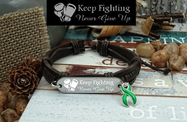 DG-1 Cerebral Palsy Scoliosis Awareness TBI Brain Injury Keep Fighting Leather Bracelet