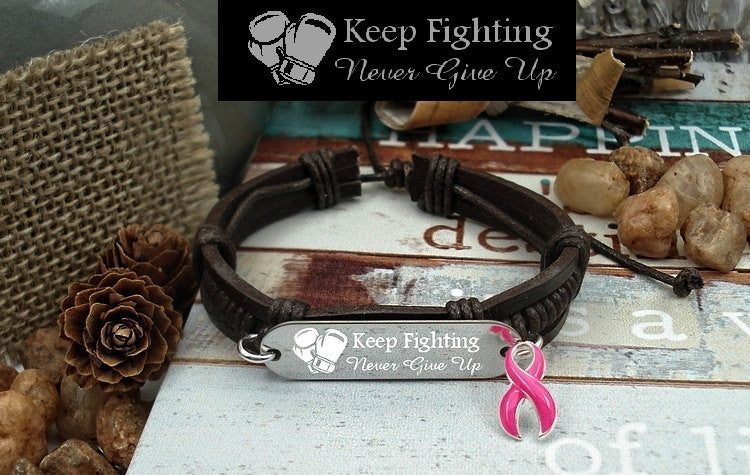 PI-1 Breast Cancer Jewelry Awareness Jewelry Keep Fighting Leather Bracelet