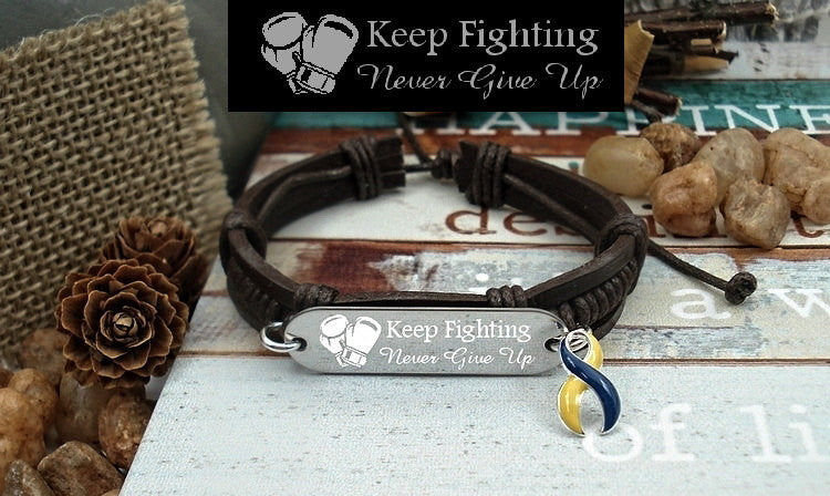 YB-4 Down Syndrome Awareness Dercums Disease Jewelry Keep Fighting Leather Bracelet