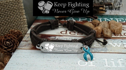 TE-1 Ovarian Cancer Cervical Cancer PCOS Awareness Jewelry Keep Fighting Leather Bracelet