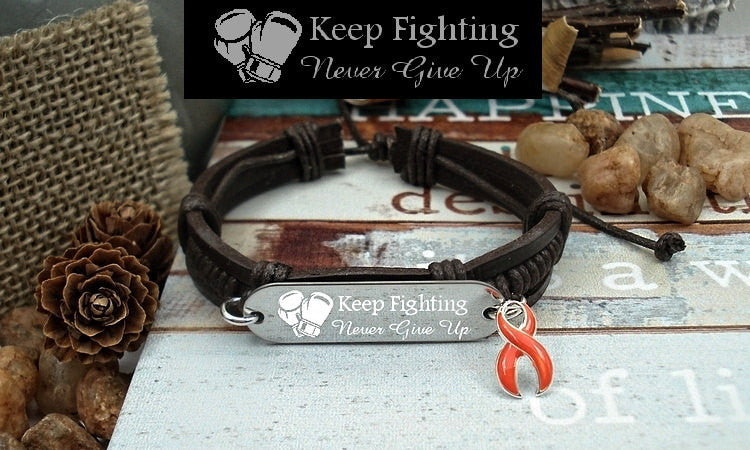 RO-1 Leukemia Kidney Cancer MS Awareness RSD Jewelry Keep Fighting Leather Bracelet