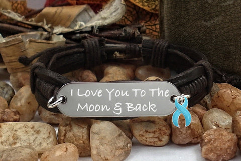 LB-1 Prostate Cancer Awareness Jewelry I Love You To The Moon & Back Bracelet