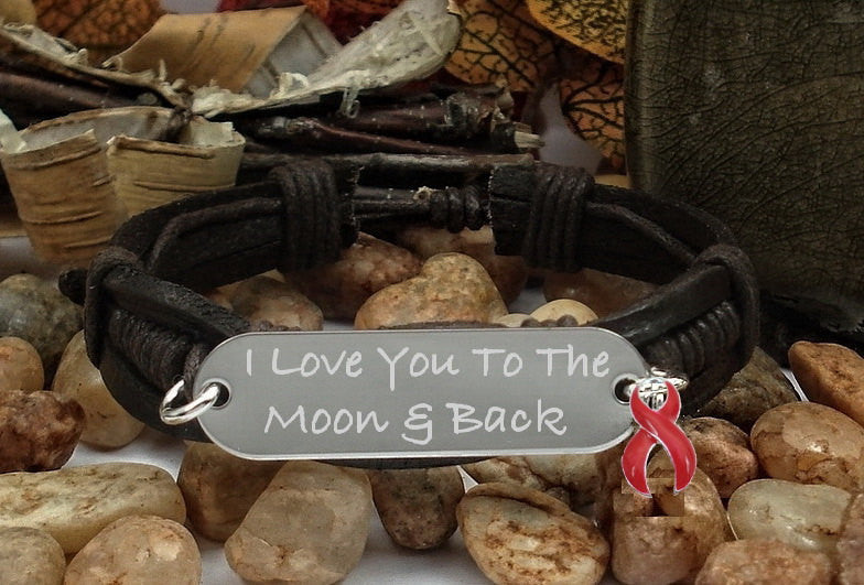 RE-1  Heart Disease Stroke Awareness Jewelry I Love You To The Moon & Back Bracelet