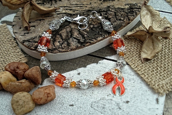 RO-1 MS Awareness Leukemia Kidney Cancer RSD Jewelry Beaded Bracelet