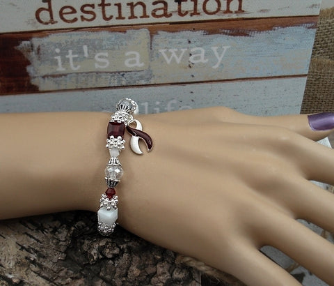BY-4 Head & Neck Cancer Throat Cancer Oral Cancer Awareness Beaded Bracelet