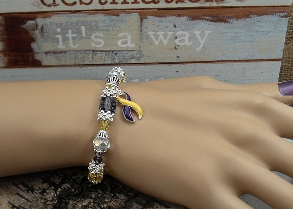 YP-4 Autoimmune Hepatitis Awareness Jewelry Beaded Bracelet