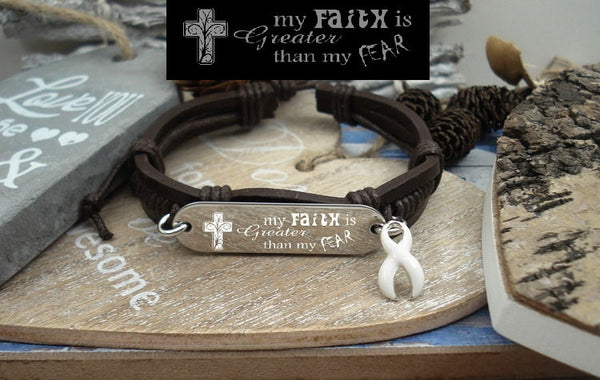 WH-1 Lung Cancer Awareness Osteroporosis Faith over Fear Leather Bracelet
