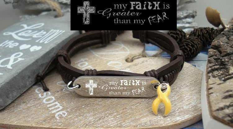 YE-1 Bladder Cancer Sarcoma Endometriosis Awareness Faith Fear Leather Bracelet