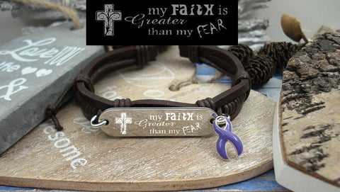 DP-1 Fibromyalgia Alzheimers Pancreatic Cancer Faith over Fear Leather Bracelet