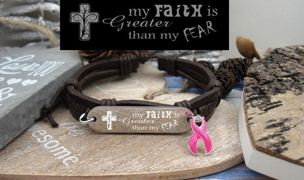 PI-1 Breast Cancer Jewelry Awareness Faith over Fear Leather Bracelet