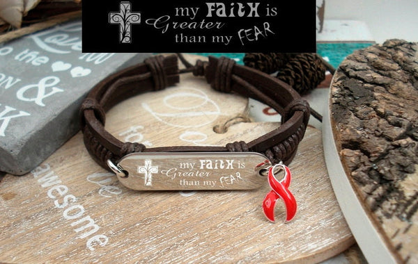 RE-1 Heart Disease Stroke Awareness Faith over Fear Leather Bracelet