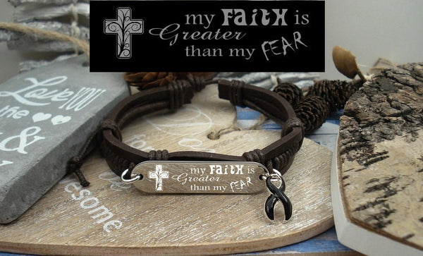 BL-1 Melanoma Narcolepsy Awareness Faith over Fear Leather Bracelet