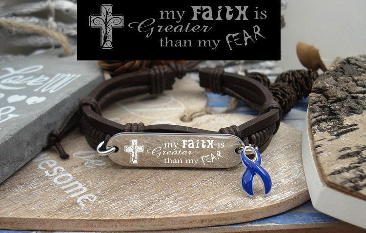 DB-1 Colon Cancer Awareness Arthritis Faith over Fear Leather Bracelet