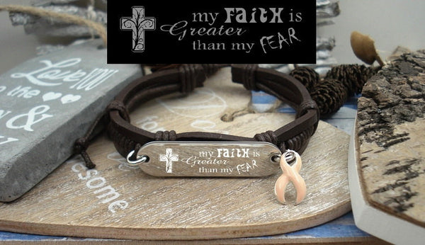 PE-1 Uterine Cancer Endometrial Cancer Awareness Faith over Fear Leather Bracelet