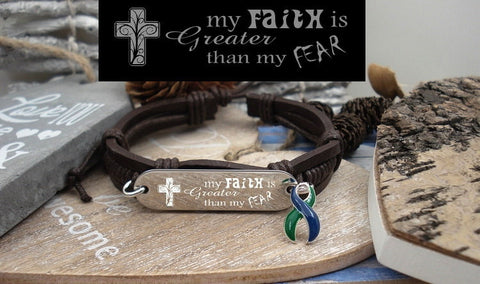GB-4 IIH Jewelry Intracranial Hypertension Faith over Fear Leather Bracelet