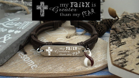 BY-4 Head & Neck Cancer Throat Cancer Oral Cancer Faith over Fear Leather Bracelet