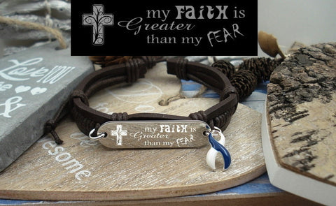 BLW-4 ALS Awareness Colon Cancer Survivor Faith over Fear Leather Bracelet