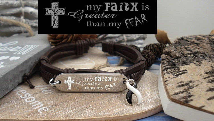 BW-4 Ehlers Danlos CVID EDS Awareness Faith over Fear Leather Bracelet