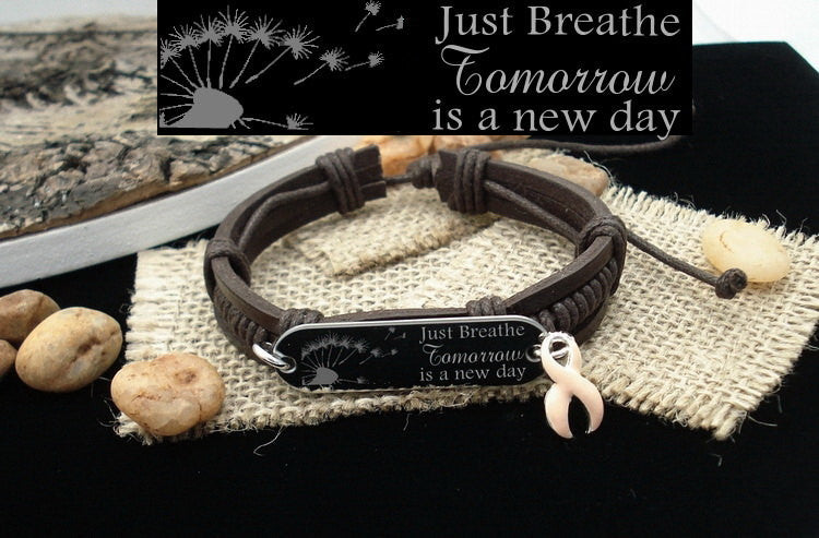 PE-1 Endometrial Cancer Awareness Uterine Cancer Just Breathe Leather Bracelet