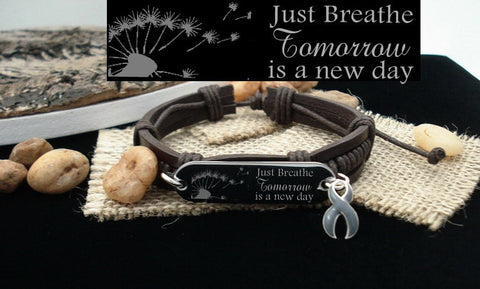 GR-1 Brain Tumor Awareness Brain Cancer Just Breathe Leather Bracelet