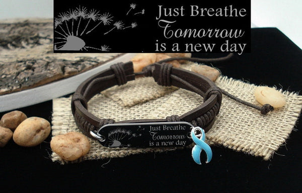 LB-1 Anorexia Awareness Prostate Cancer Just Breathe Leather Bracelet