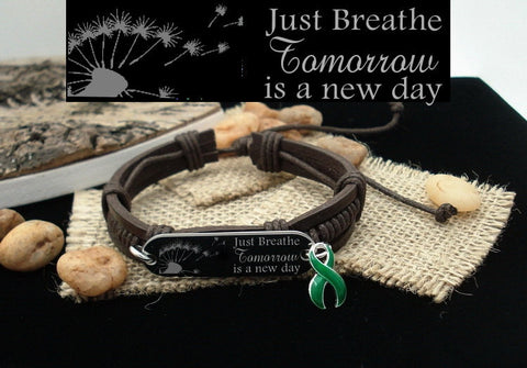 DG-1 Liver Cancer Awareness Liver Organ Donor Just Breathe Leather Bracelet