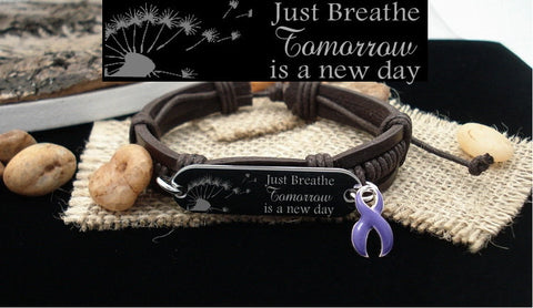 DP-1 Crohns Awareness Ulcerative Colitis Fibromyalgia Just Breathe Leather Bracelet