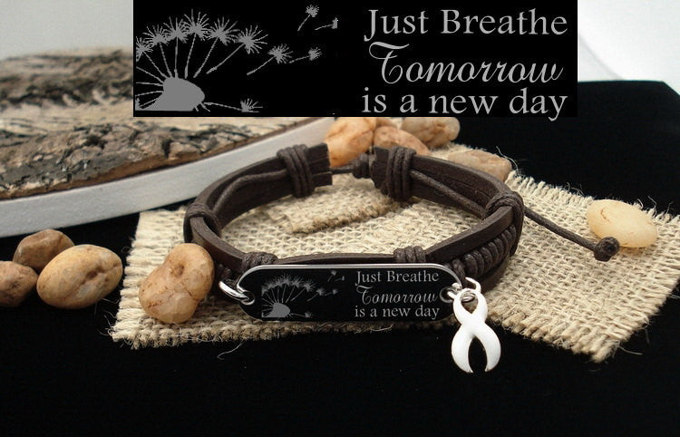 WH-1 Lung Cancer Awareness Jewelry Just Breathe Leather Bracelet
